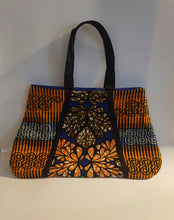 Load image into Gallery viewer, Handmade African Wax/Ankara/ Kitenge Print Tote Bag, in a Floral Royal  Blue, Orange and Green Colour