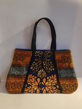 Load image into Gallery viewer, African Wax/Ankara/ Kitenge Print Tote Bag, in a Floral Royal  Blue, Orange and Green Colour