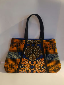 African Wax/Ankara/ Kitenge Print Tote Bag, in a Floral Royal  Blue, Orange and Green Colour