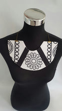 Load image into Gallery viewer, Handmade Black and white African Wax/Ankara/kitenge fabric bib necklace