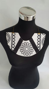 Handmade Black and white African Wax/Ankara/kitenge fabric bib necklace
