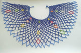 Large over the shoulder Zulu Necklace in light blue, royal blue, red, yellow, orange and white