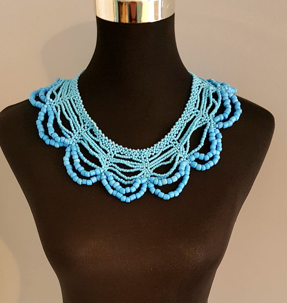 Zulu Beaded African Collared Necklace/ Beaded African Light Blue Beaded Collared Necklace