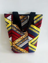 Load image into Gallery viewer, Handmade African/Ankara/kitenge Multi Coloured Wax fabric Tote Bag