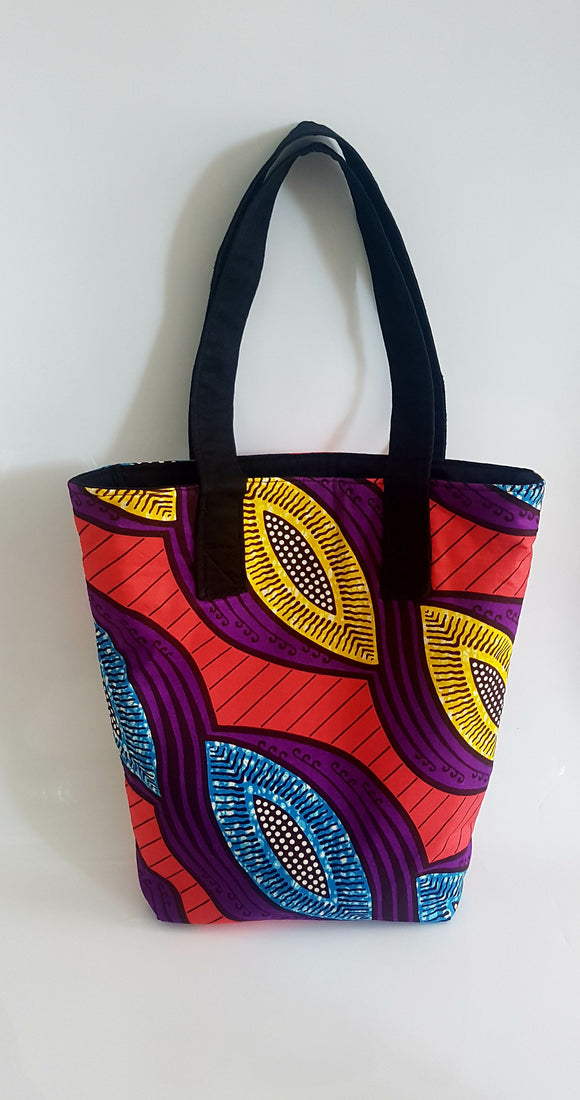African Wax Fabric Multicoloured Tote Bag, in Orange, blue, yellow, purple and black