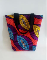 Handmade African Wax Fabric Multicoloured Tote Bag, in Orange, blue, yellow, purple and black