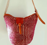 Handmade Medium Sized Red and Cream Kiondo Bag/ Ethnic Sisl Bag