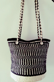 Handmade Black and White Kiondo Bag with Ethnic Shells, Zipper to close