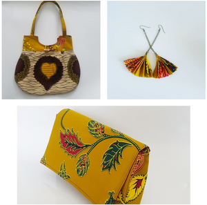 Handmade Matching African Wax Tote, Clutch and Fabric Earings in shades of gold, yellow, maroon, green and brown!