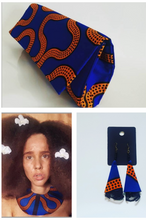 Load image into Gallery viewer, Handmade Royal blue and mustard African Wax Ankara Fabric  Clutch, Earings and Bib Collar Necklace