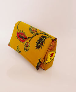 Handmade African Wax/Print /Kitenge Clutch in Vibrant Yellow with Maroon and Green  Floral Print Embellished with Colourful African Glass Beads