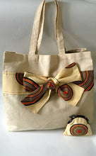Load image into Gallery viewer, Large Tan Canvas Tote with African Ankara Wax Print Bow