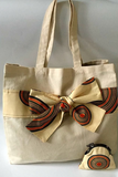 Handmade Canvas Tote with African /Ankara Wax Fabric Print Bow