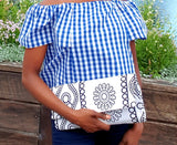 Handmade Black and White African/ Ankara Wax fabric  Clutch, has matching collar necklace