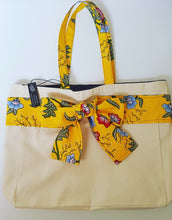Load image into Gallery viewer, Large canvas Tote with vibrant yellow Ankara bow
