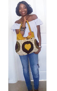 Handmade Ankara African Wax Tote bag, 100% cotton tote bag in mustard yellow floral and heart shaped print