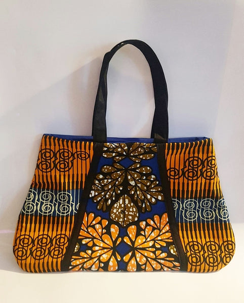Handmade African Wax/Ankara/ Kitenge Print Tote Bag, in a Floral Royal  Blue, Orange and Green Colour