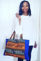 Large handmade African Wax/Ankara/Kitenge Tote Bag, In Royal Blue, Mustard Yellow and Black, African Print Tote