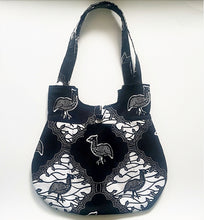 Load image into Gallery viewer, Handmade Ankara African Wax Tote, 100% cotton tote bag, Black and White Tote with inner pocket