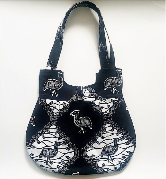 Handmade Ankara African Wax Tote, 100% cotton tote bag, Black and White Tote with inner pocket