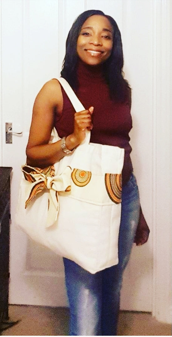 Large Tan Canvas Tote with African Ankara Wax Print Bow