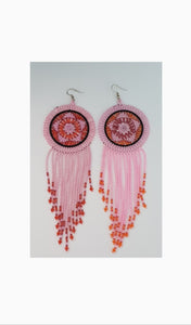 Large handmade ethnic pink cascade beaded earings