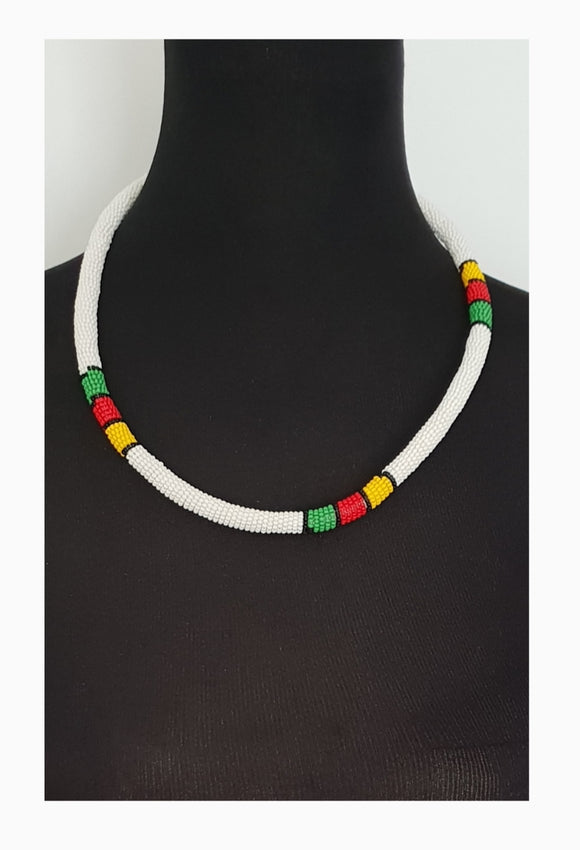 Free Shipping! White Solid Thin Ndebele beaded Choker and bangle set