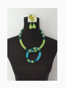 Blue/Lime Green Ndebele Set with matching bangle