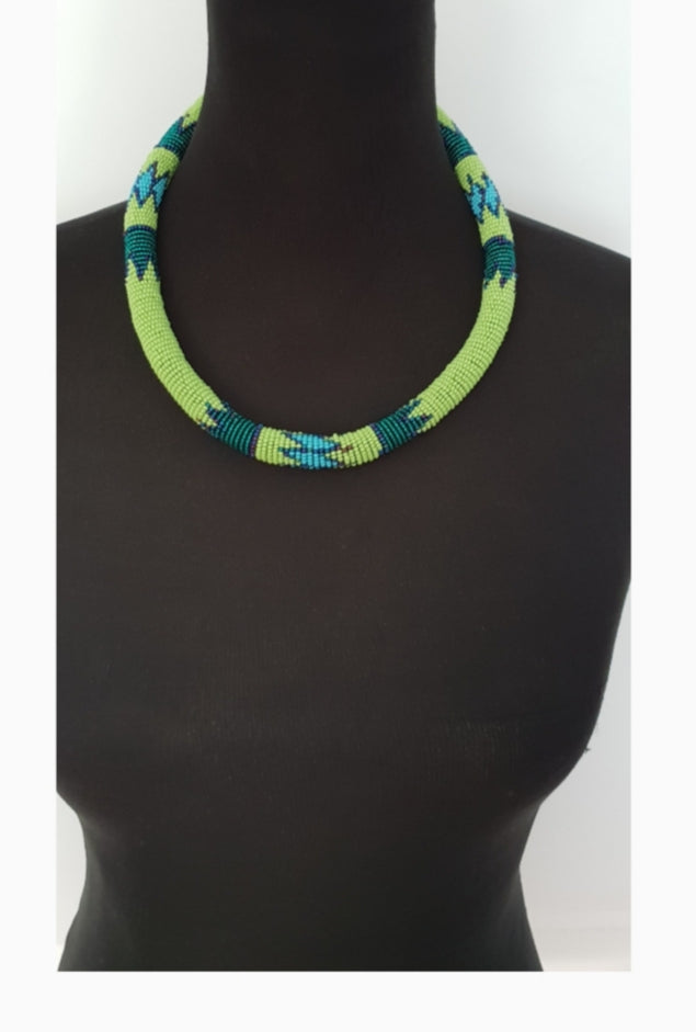 Ethnic Thick Solid beaded Ndebele choker and bangle set in lime green, dark green, blue and matching bangle set