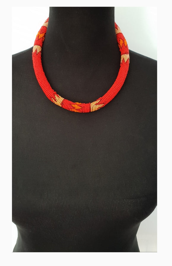 Ethnic Thick Solid Orange choker and bangle beaded set