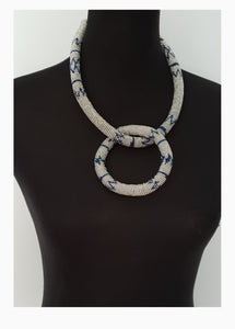 Silver and Blue Ndebele choker Set with matching bangle