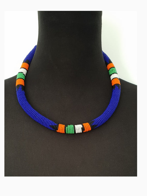 Handmade Ethnic Royal blue beaded Ndebele Choker with matching bangle set