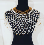 White and Gold Zulu Beaded Collar Necklace