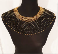Handmade Black and Gold Zulu Beaded Collar Necklace