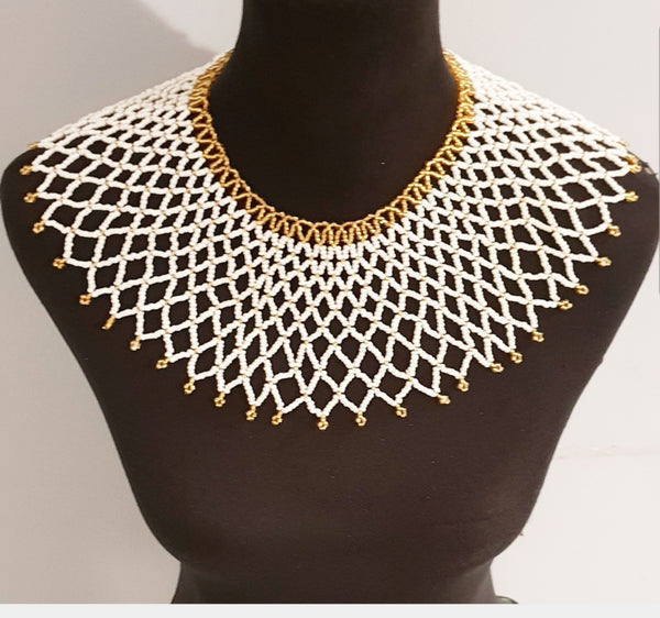White and Gold Collar Zulu Beaded Necklace