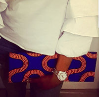 Handmade Royal blue, Mustard and black African Wax clutch, has matching Collar bib necklace