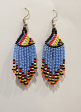 Load image into Gallery viewer, Light blue Ndebele Tassel Earings
