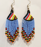 Colourful blue Ndebele, Zulu beaded African tassel earings