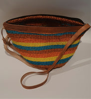 Multi Coloured Medium Sized Kiondo bag in Orange, blue, yellow and brown