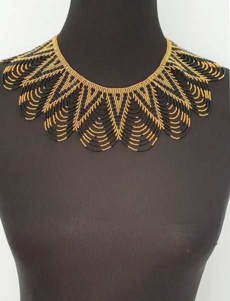 Handmade Gold and black ethnic peacock necklace