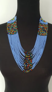 Handmade Blue Ethnic Stringy necklace with matching bracelet