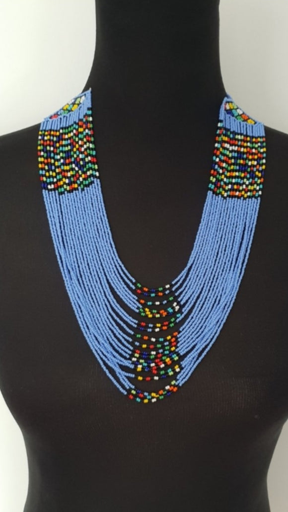 Blue Stringy Necklace Set