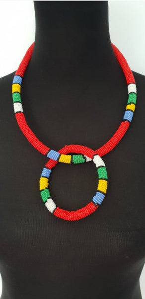 Red Solid ethnic Ndebele Choker and bangle set