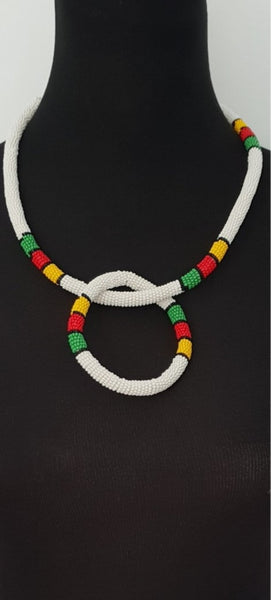 White Solid Thin Ndebele beaded Choker and bangle set