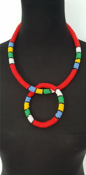 Handmade Red Ethnic Solid thin Ndebele beaded choker and matching bracelet set