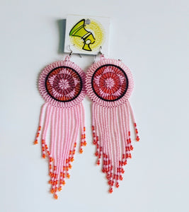 Large Pink Tassel  Earings (Free Shipping)