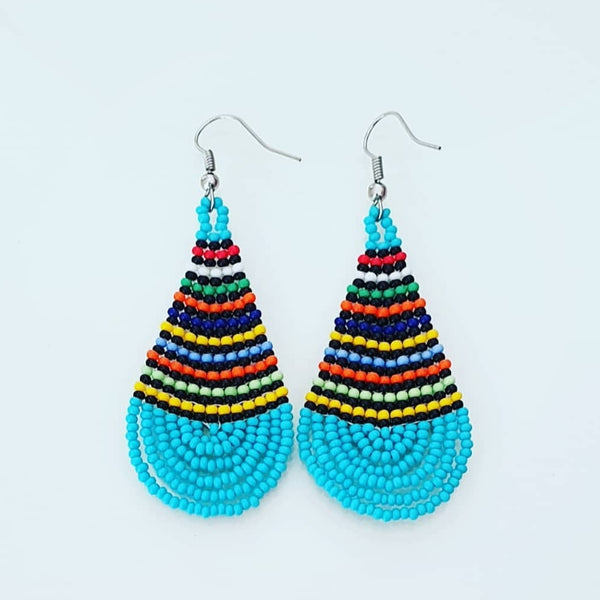 Colourful blue beaded pear shaped beaded earings