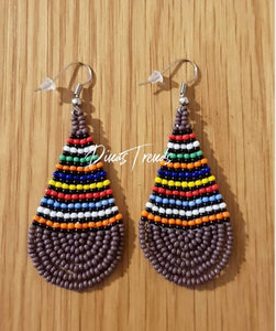 Multiucoloured Beaded Ndebele Pear shaped earings. In brown, yellow, red, blue, black, orange, green, white