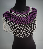 Handmade Zulu Large White and Purple Over the Shoulder Beaded Necklace