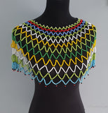 Free Shipping- Zulu Large Multi Coloured Over the Shoulder Beaded Necklace, green, red, blue, yellow and white